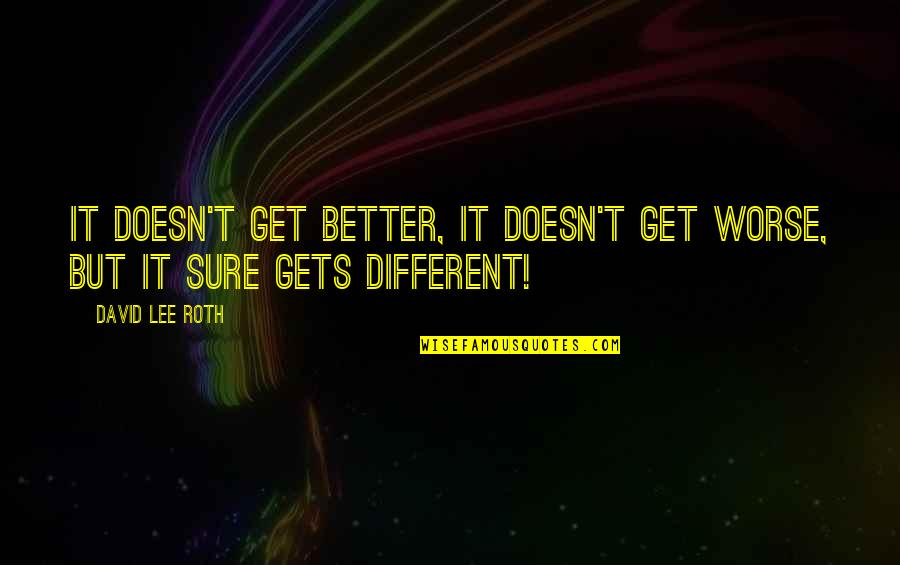 It Only Gets Better Quotes By David Lee Roth: It doesn't get better, it doesn't get worse,