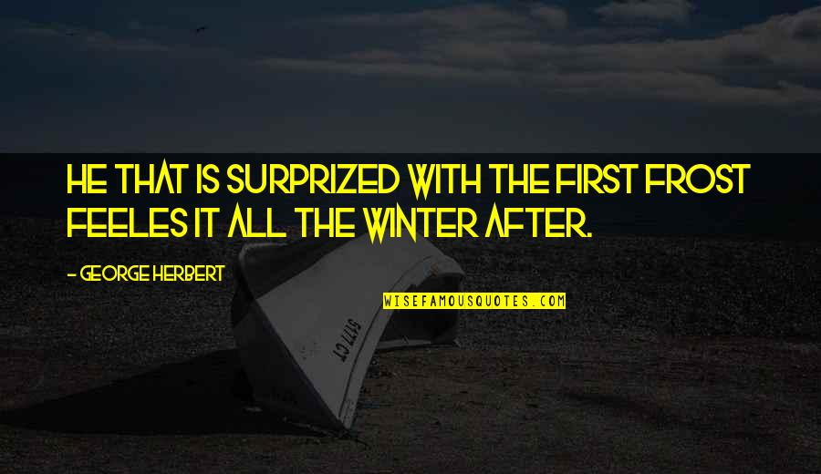 It Really Doesn't Matter Anymore Quotes By George Herbert: He that is surprized with the first frost