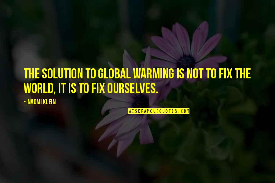 It Solution Quotes By Naomi Klein: the solution to global warming is not to