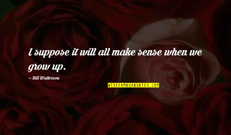 7131263aa It Will All Make Sense Quotes By Bill Watterson: I suppose it will all make