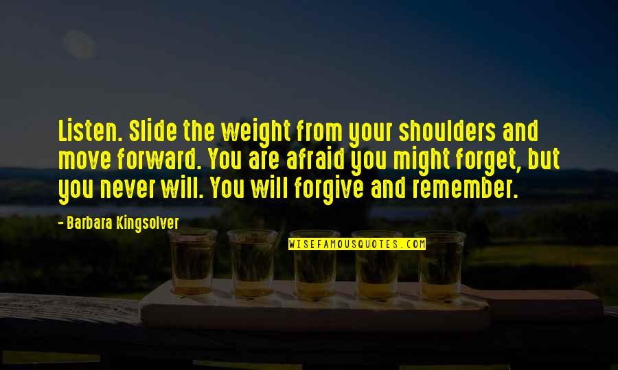 It Will Never Change Quotes By Barbara Kingsolver: Listen. Slide the weight from your shoulders and