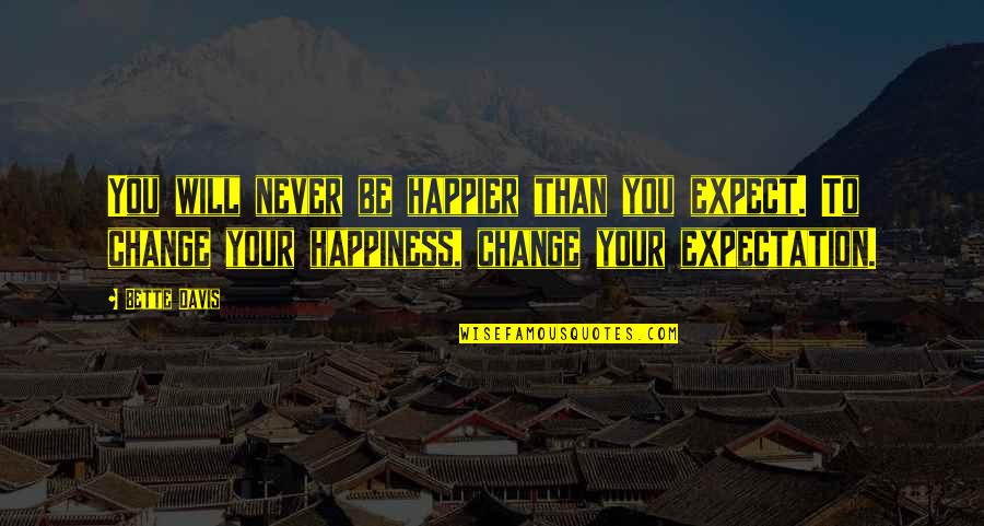 It Will Never Change Quotes By Bette Davis: You will never be happier than you expect.