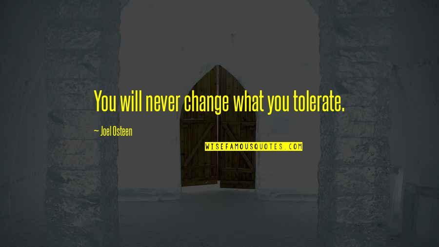 It Will Never Change Quotes By Joel Osteen: You will never change what you tolerate.