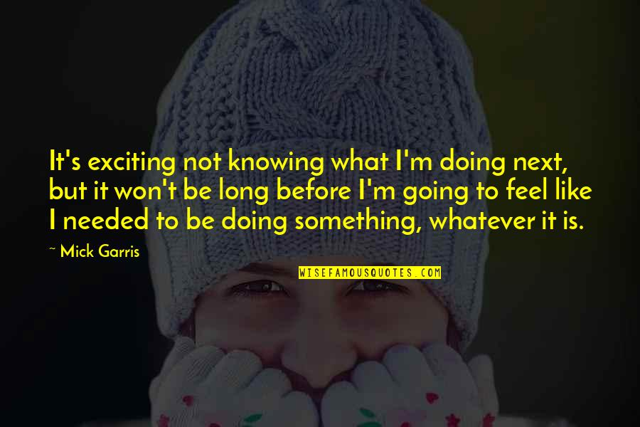 It Won't Be Long Quotes By Mick Garris: It's exciting not knowing what I'm doing next,