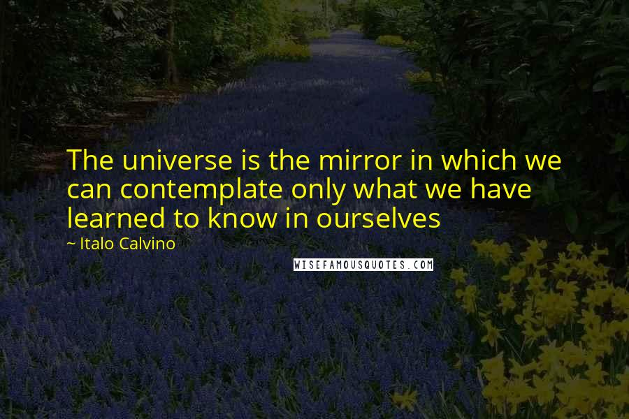 Italo Calvino quotes: The universe is the mirror in which we can contemplate only what we have learned to know in ourselves