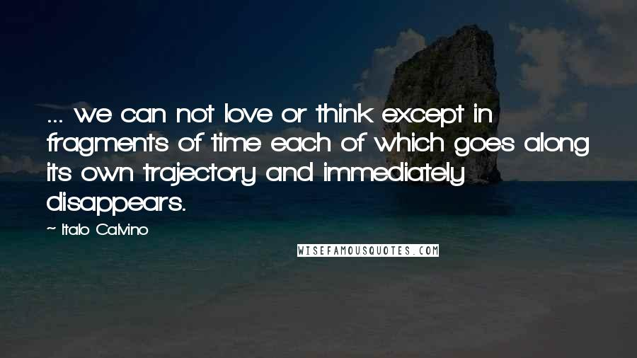 Italo Calvino quotes: ... we can not love or think except in fragments of time each of which goes along its own trajectory and immediately disappears.