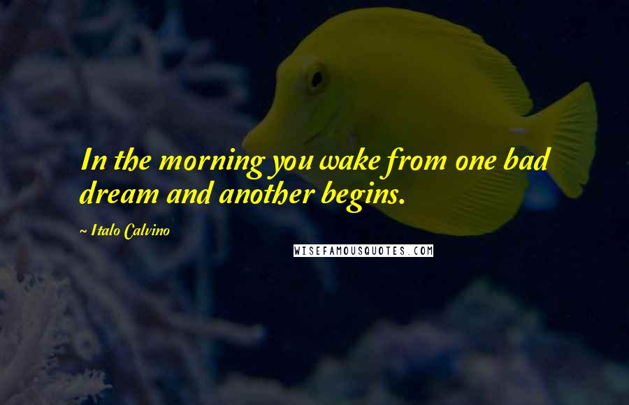 Italo Calvino quotes: In the morning you wake from one bad dream and another begins.