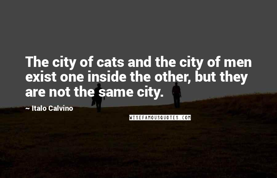 Italo Calvino quotes: The city of cats and the city of men exist one inside the other, but they are not the same city.