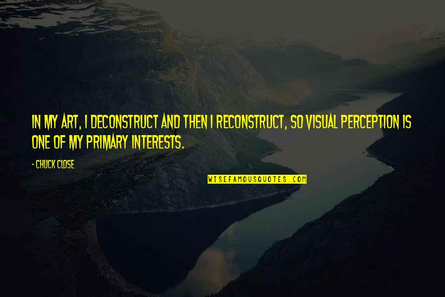 Ither Quotes By Chuck Close: In my art, I deconstruct and then I