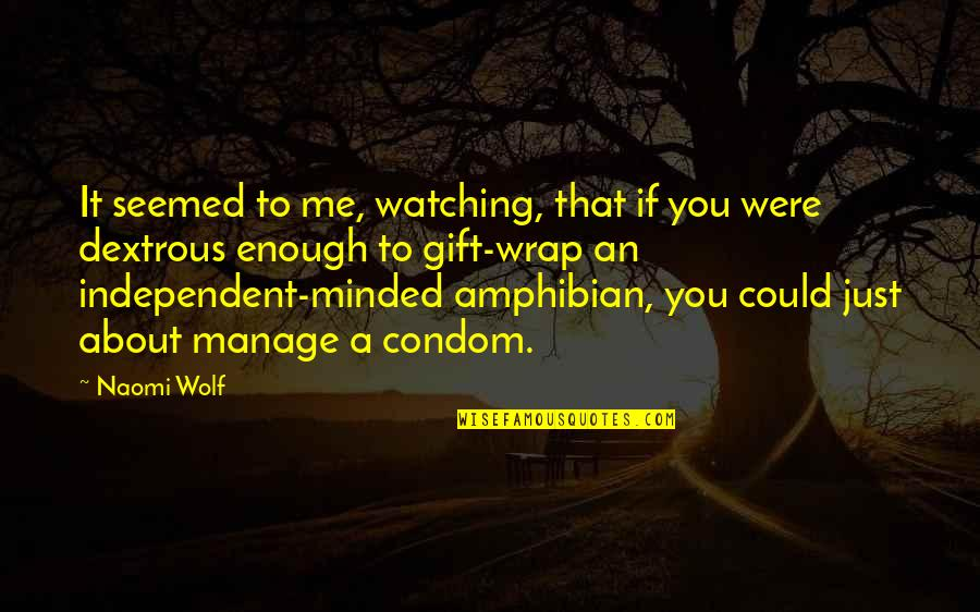 It's A Wrap Quotes By Naomi Wolf: It seemed to me, watching, that if you