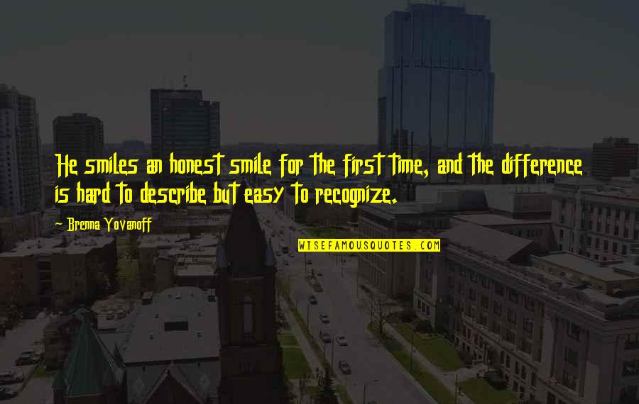 It's Hard Not To Smile Quotes By Brenna Yovanoff: He smiles an honest smile for the first