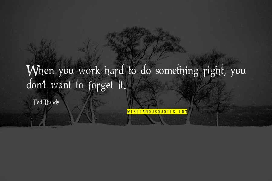 It's Hard To Forget Quotes By Ted Bundy: When you work hard to do something right,