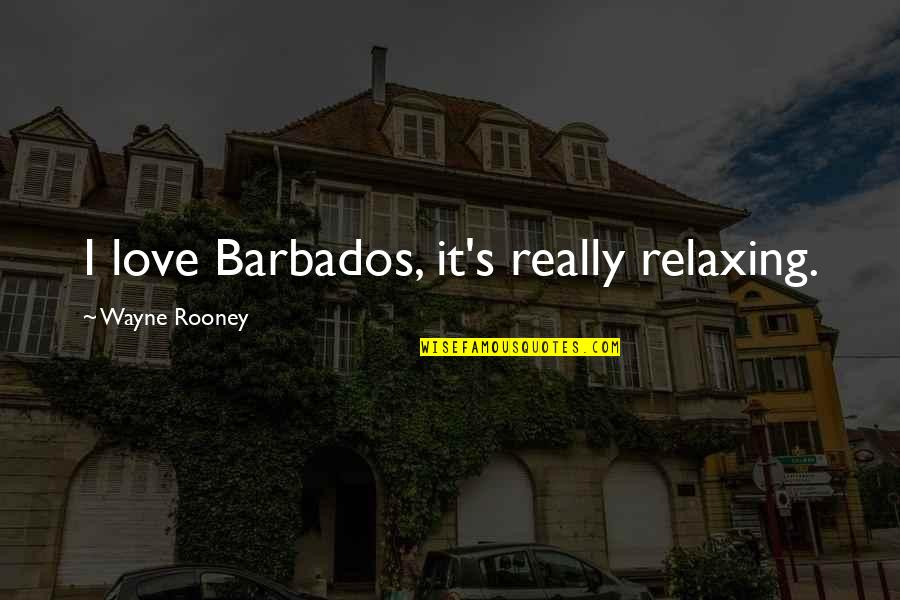 It's Too Late She's Gone Quotes By Wayne Rooney: I love Barbados, it's really relaxing.
