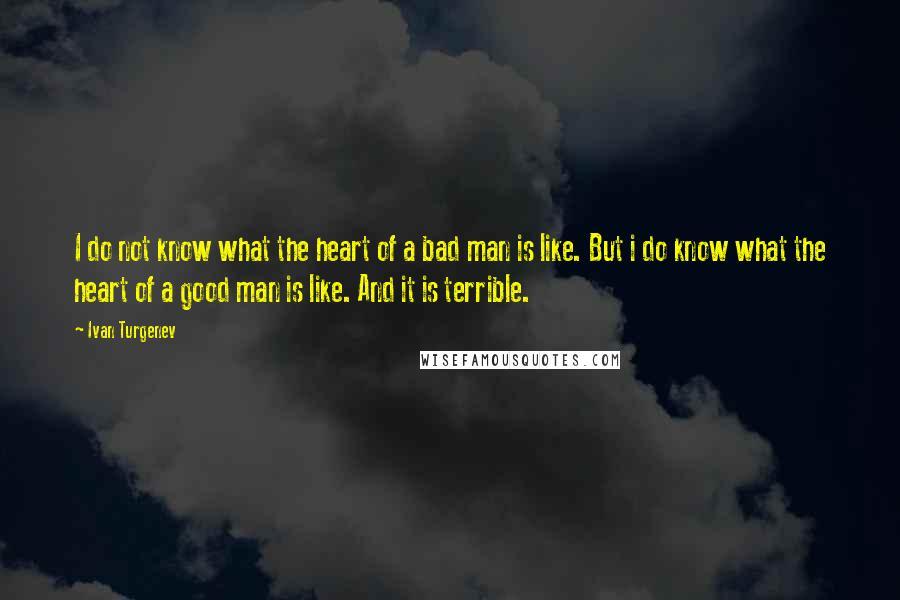 Ivan Turgenev quotes: I do not know what the heart of a bad man is like. But i do know what the heart of a good man is like. And it is terrible.