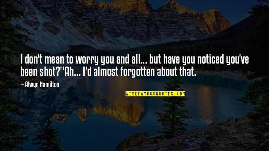 I've Been Forgotten Quotes By Alwyn Hamilton: I don't mean to worry you and all...