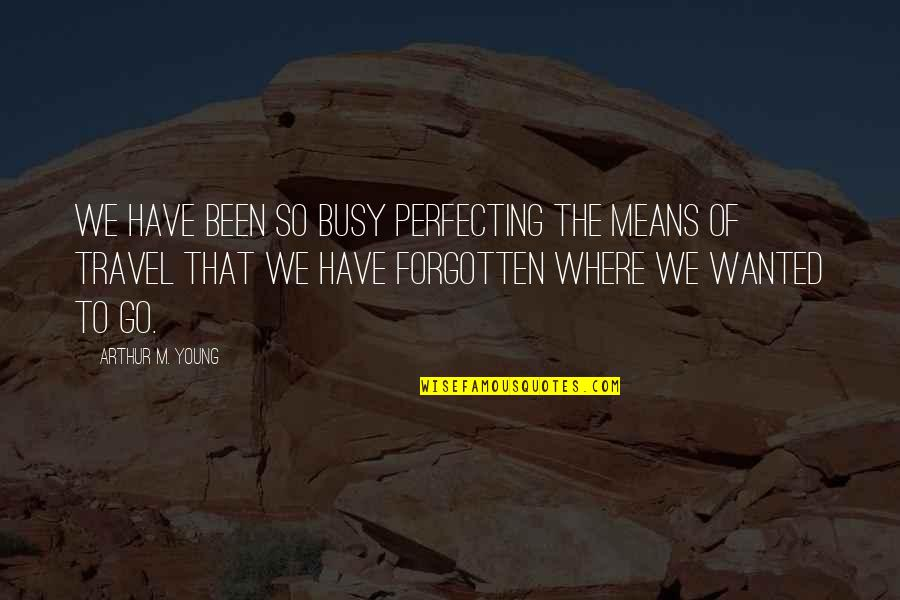 I've Been Forgotten Quotes By Arthur M. Young: We have been so busy perfecting the means