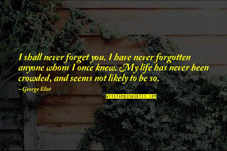 I've Been Forgotten Quotes By George Eliot: I shall never forget you. I have never