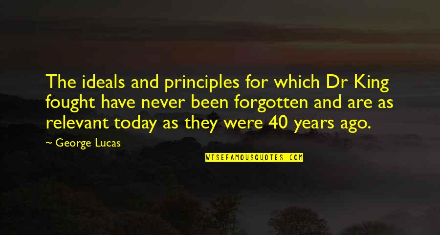 I've Been Forgotten Quotes By George Lucas: The ideals and principles for which Dr King