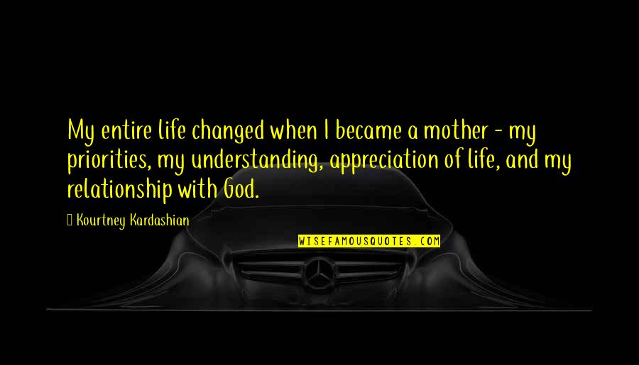 I've Changed My Life Quotes By Kourtney Kardashian: My entire life changed when I became a