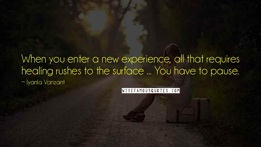Iyanla Vanzant quotes: When you enter a new experience, all that requires healing rushes to the surface ... You have to pause.