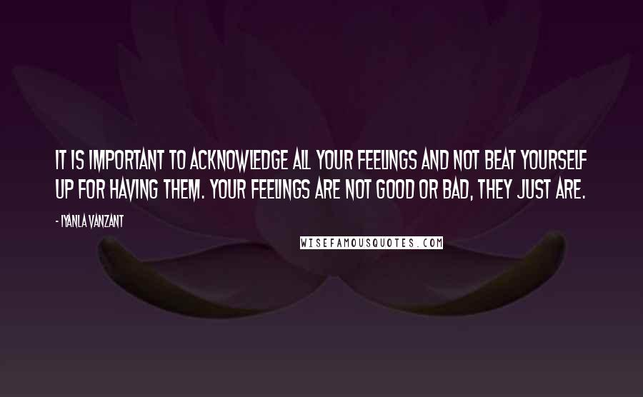 Iyanla Vanzant quotes: It is important to acknowledge all your feelings and not beat yourself up for having them. Your feelings are not good or bad, they just are.