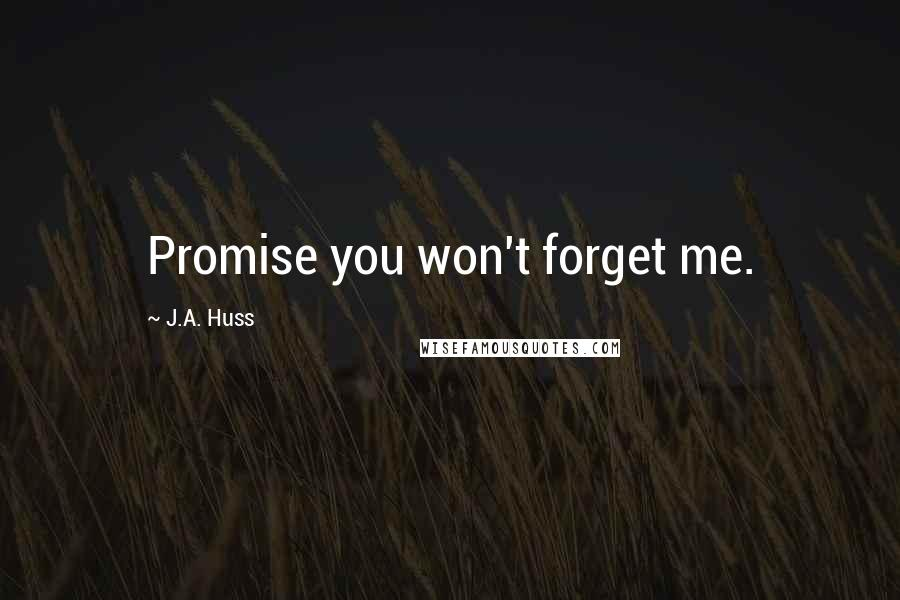 J.A. Huss quotes: Promise you won't forget me.
