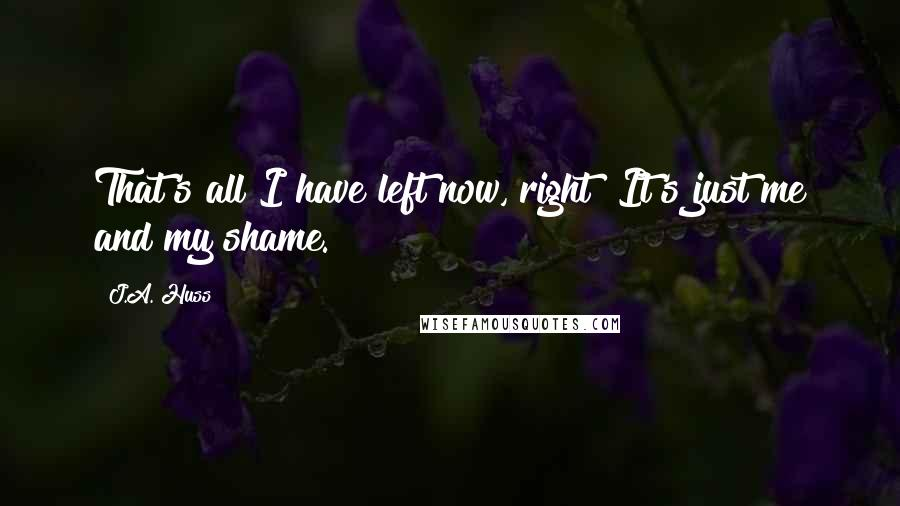 J.A. Huss quotes: That's all I have left now, right? It's just me and my shame.