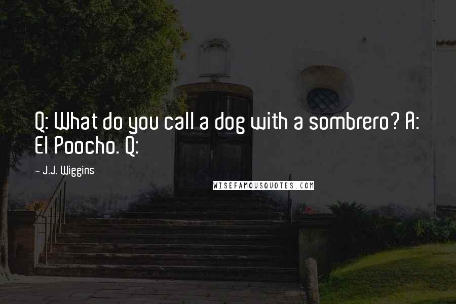 J.J. Wiggins quotes: Q: What do you call a dog with a sombrero? A: El Poocho. Q: