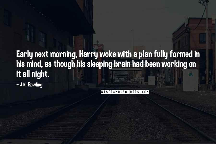 J.K. Rowling quotes: Early next morning, Harry woke with a plan fully formed in his mind, as though his sleeping brain had been working on it all night.