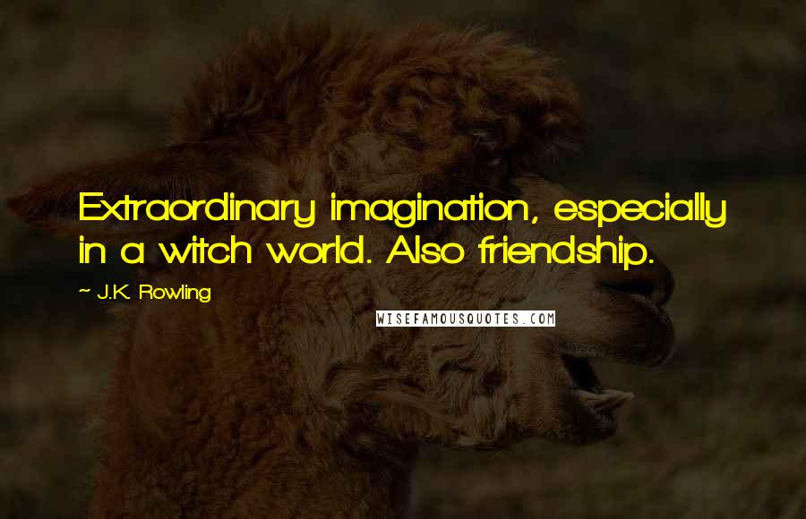 J.K. Rowling quotes: Extraordinary imagination, especially in a witch world. Also friendship.