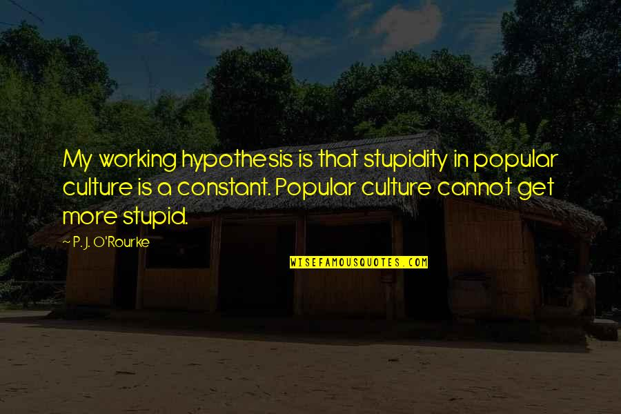 J O'rourke Quotes By P. J. O'Rourke: My working hypothesis is that stupidity in popular
