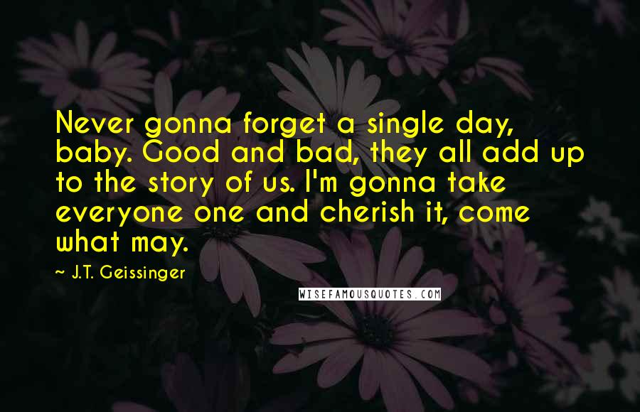J.T. Geissinger quotes: Never gonna forget a single day, baby. Good and bad, they all add up to the story of us. I'm gonna take everyone one and cherish it, come what may.