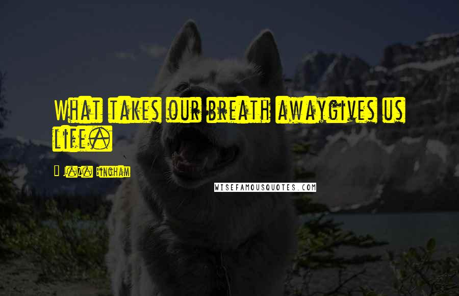 J.Z. Bingham quotes: What takes our breath awaygives us life.