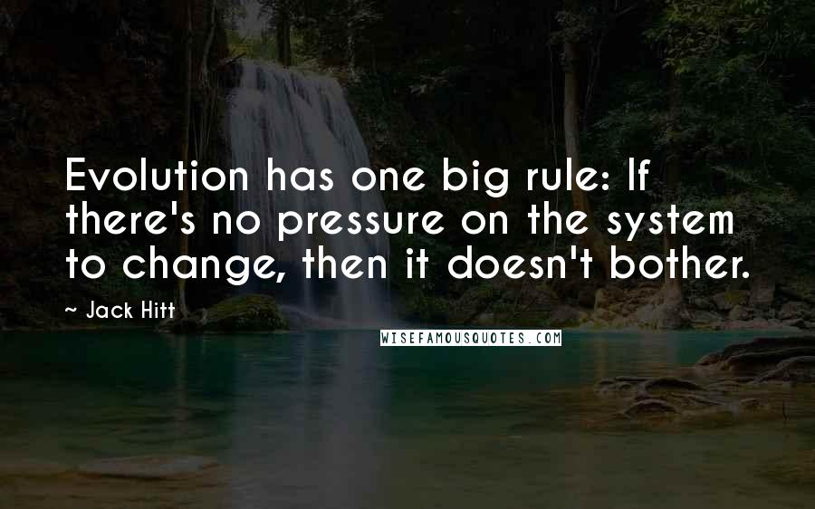 Jack Hitt quotes: Evolution has one big rule: If there's no pressure on the system to change, then it doesn't bother.