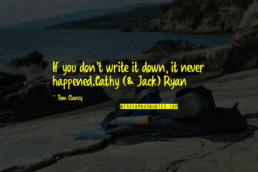 Jack Ryan Quotes By Tom Clancy: If you don't write it down, it never