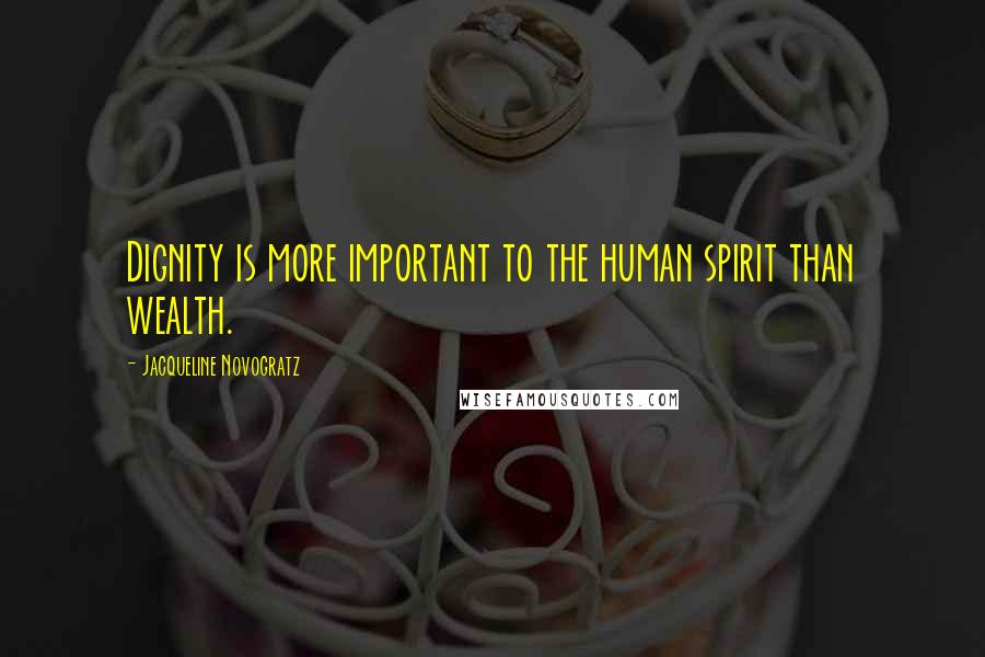 Jacqueline Novogratz quotes: Dignity is more important to the human spirit than wealth.