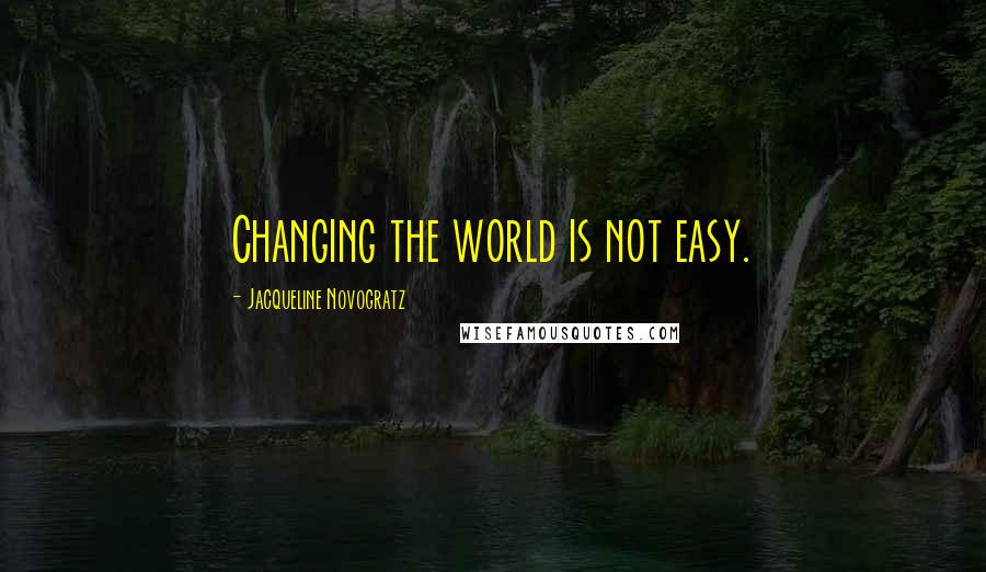 Jacqueline Novogratz quotes: Changing the world is not easy.