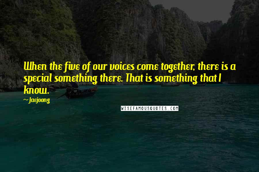 Jaejoong quotes: When the five of our voices come together, there is a special something there. That is something that I know.