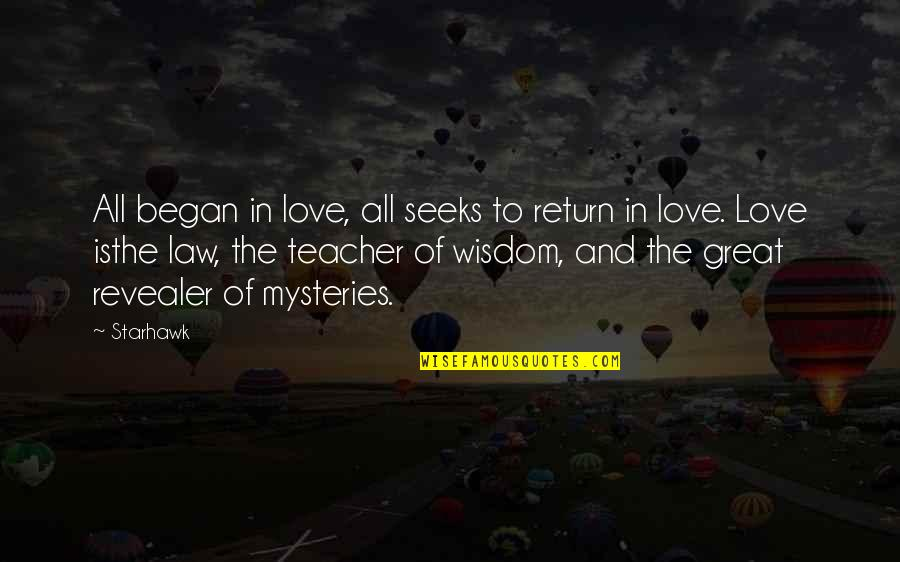 Jah Rasta Quotes By Starhawk: All began in love, all seeks to return
