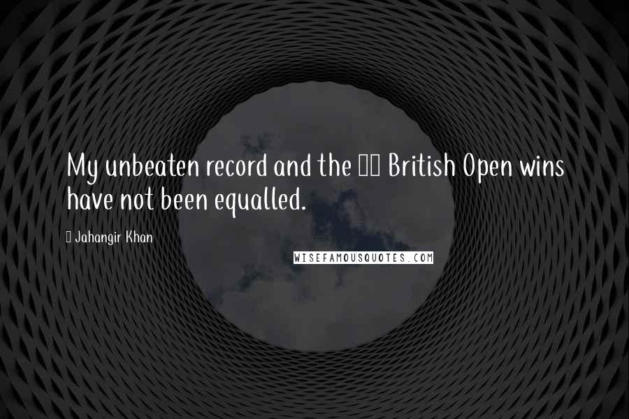 Jahangir Khan quotes: My unbeaten record and the 10 British Open wins have not been equalled.