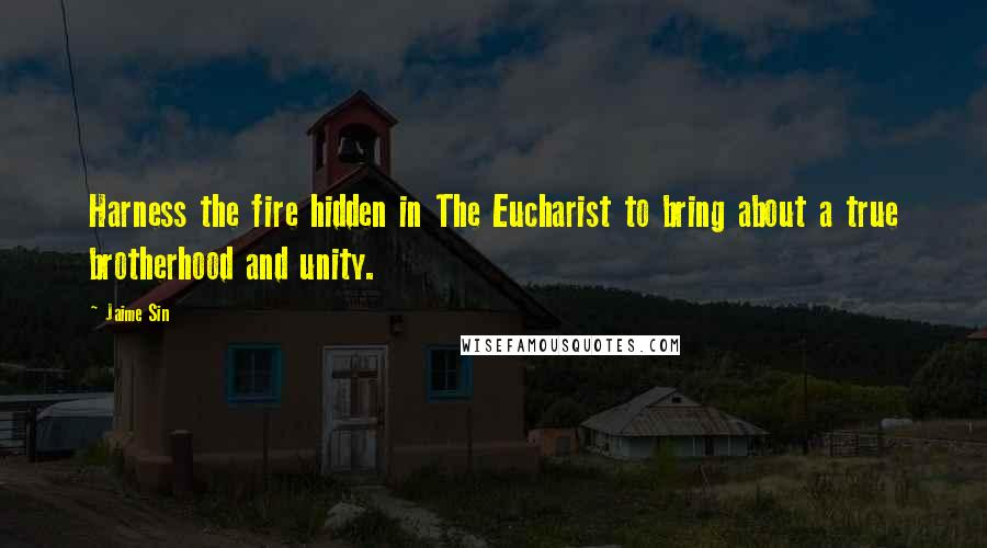 Jaime Sin quotes: Harness the fire hidden in The Eucharist to bring about a true brotherhood and unity.