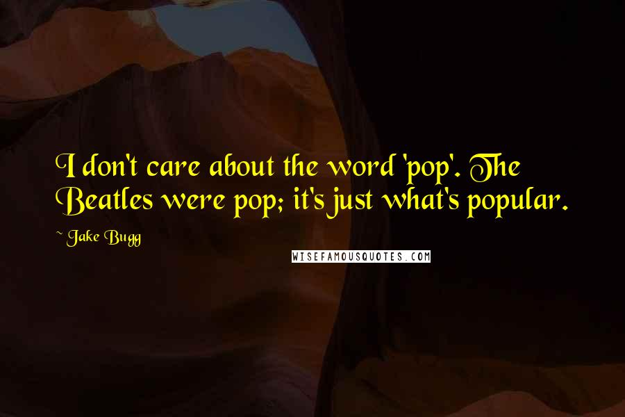 Jake Bugg quotes: I don't care about the word 'pop'. The Beatles were pop; it's just what's popular.