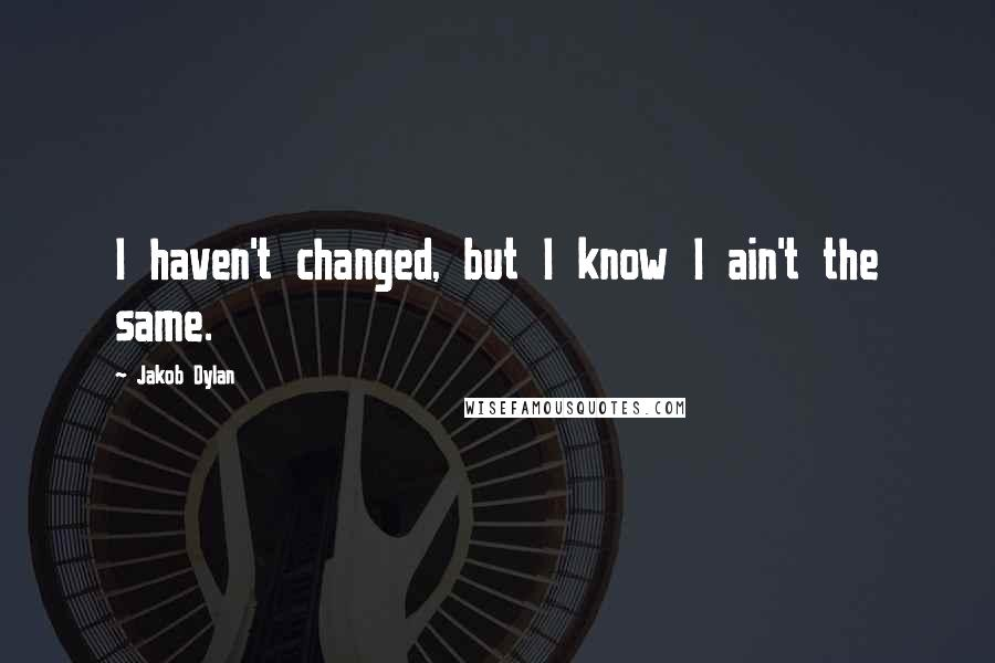Jakob Dylan quotes: I haven't changed, but I know I ain't the same.