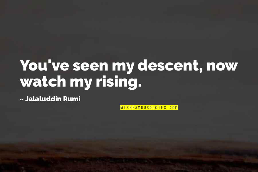 Jalaluddin Quotes By Jalaluddin Rumi: You've seen my descent, now watch my rising.