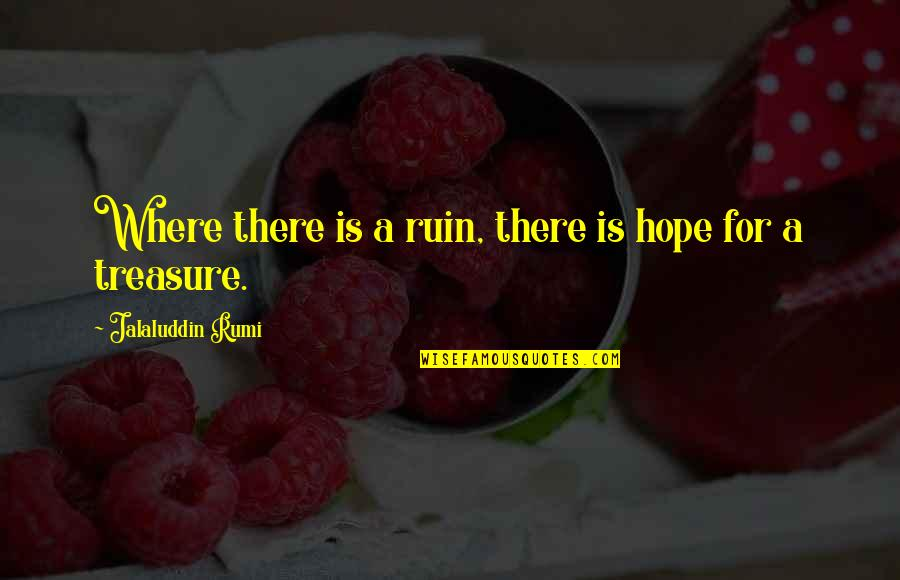 Jalaluddin Quotes By Jalaluddin Rumi: Where there is a ruin, there is hope