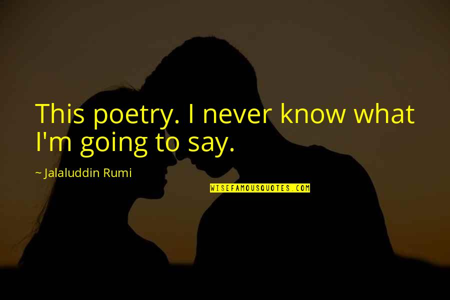 Jalaluddin Quotes By Jalaluddin Rumi: This poetry. I never know what I'm going
