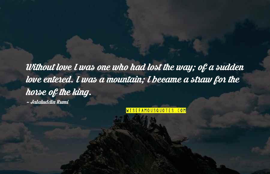 Jalaluddin Quotes By Jalaluddin Rumi: Without love I was one who had lost