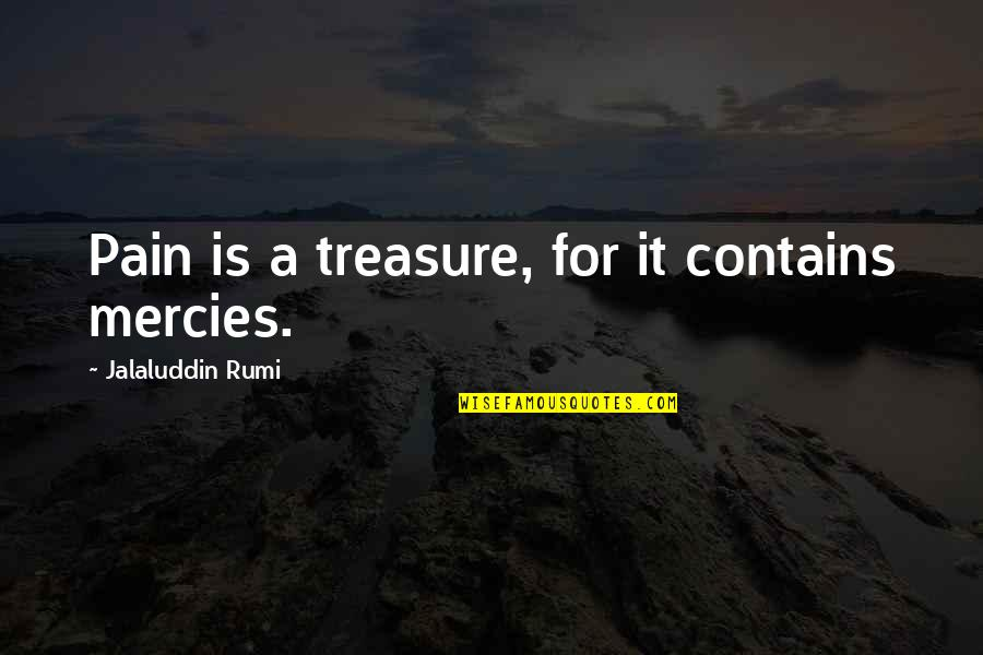 Jalaluddin Quotes By Jalaluddin Rumi: Pain is a treasure, for it contains mercies.