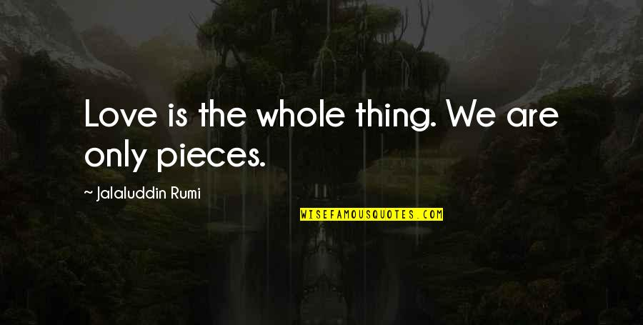 Jalaluddin Quotes By Jalaluddin Rumi: Love is the whole thing. We are only
