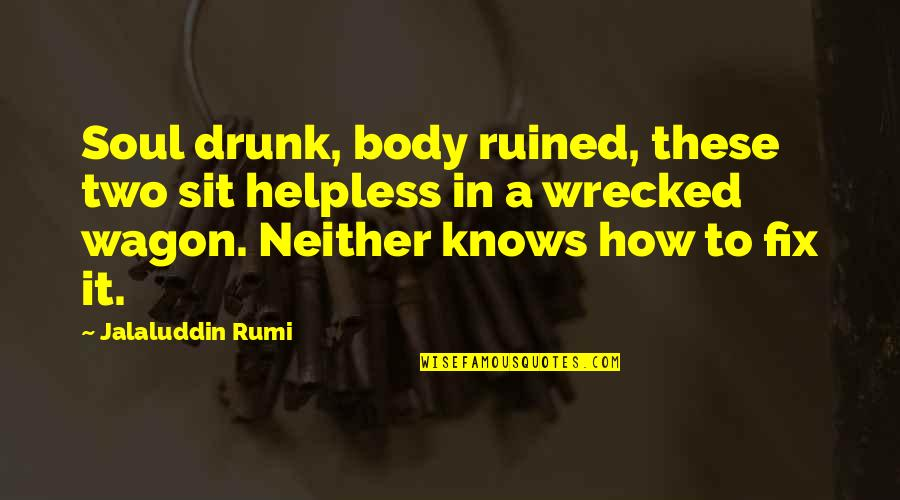 Jalaluddin Quotes By Jalaluddin Rumi: Soul drunk, body ruined, these two sit helpless